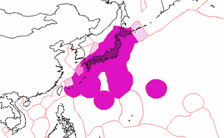 Japan's exclusive economic zones:  Japan's EEZ  Joint regime with Republic of Korea  EEZ claimed by Japan, disputed by others