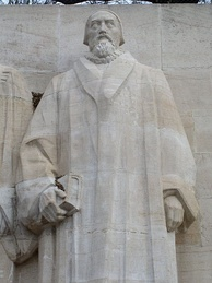 Statue of John Knox at the Reformation Wall monument in Geneva