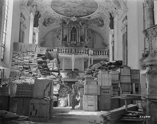 German loot stored at Schlosskirche Ellingen, Bavaria (April 1945)