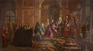 The 10-year-old Duke of Chartres in red on the right; the scene depicts the Doge of Genoa at Versailles on 15 May 1685.