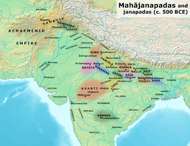 Kingdoms and cities of ancient India, with Gandhara located in the northwest of the Indian subcontinent, during the time of the Buddha (c. 500 BC).