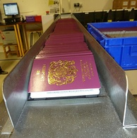 "More than 5 million passports of the United Kingdom (also called the ""red book"") are printed each year—one every 2.5 seconds—at this secret location in the North of England[55]"