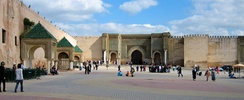 "El Hedim Square in Meknes, Morocco with the ""Bab Mansour Gate"" in the Old city of Meknes"