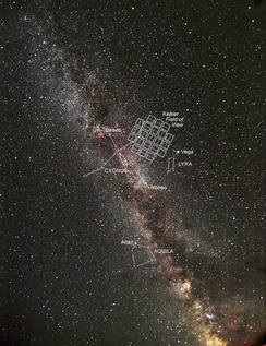 The photometer's field of view in the constellations Cygnus, Lyra and Draco