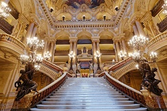 Monumental stairway of the Palais Garnier opera in Paris