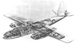 Cutaway view of XB-45. Note the intended radar-sighted tail gun position, later replaced by a conventional manned position.