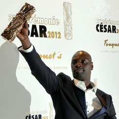 Omar Sy winning the César Award for Best Actor in 2012 at the 37th César Awards for The Intouchables