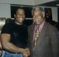 Davis with activist and opera star Stacey Robinson (left) in 1998.