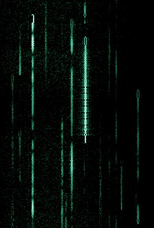 A waterfall display depicting several PSK31 transmissions at around 14,070 kHz. The green lines indicate a station that is transmitting.