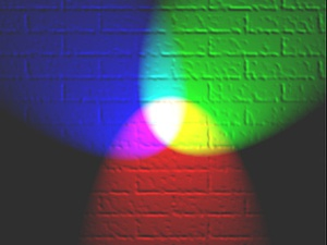 In modern color theory, red, green and blue are the additive primary colors, and together they make white. A combination of red, green and blue light in varying proportions makes all the colors on your computer screen and television screen.