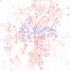 Map of racial distribution in Indianapolis, 2010 U.S. Census. Each dot is 25 people: White, Black, Asian, Hispanic or Other (yellow)