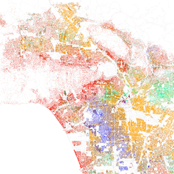 Map of racial distribution in Los Angeles, 2010 U.S. Census. Each dot is 25 people: White, Black, Asian, Hispanic or Other (yellow)