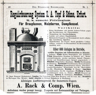 An 1891 advert for a Topf & Söhne patented brewery heating system, listing companies who had bought some of the 600 units already sold.