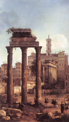 Rome: Ruins of the Forum, Looking towards the Capitol (1742) by Canaletto