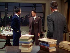 A typical scene from Rope showing James Stewart
