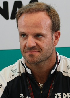 Rubens Barrichello looks at something off camera