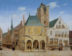 A painting by Pieter Saenredam of the old town hall in Amsterdam where the bank was founded in 1609.