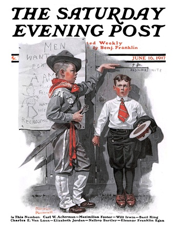 Иллюстрация Необходимый рост Нормана Роквелла для Saturday Evening Post 1917 года