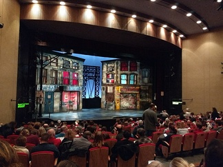 The set and stage for In the Heights at the Wheelock Family Theatre at Wheelock College.