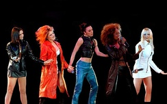 "The Spice Girls performing ""Say You'll Be There"" at the McLaren party, in 1997"