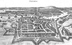 The city's fortifications, as seen in 1642