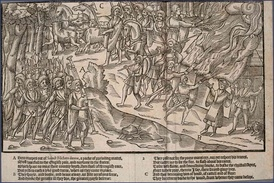 A cattle raid shown in The Image of Irelande (1581)