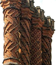 Decorative Tudor brick chimneys at Hampton Court Palace