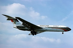 A Gulf Air Vickers VC10 landing at London Heathrow Airport in 1977