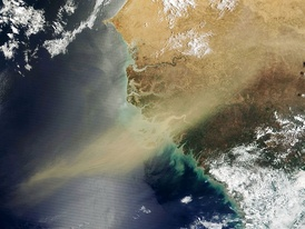 Satellite imagery of West Africa.