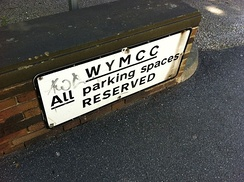 A former West Yorkshire Metropolitan County Council sign found outside the West Yorkshire Archives, Wakefield, West Yorkshire