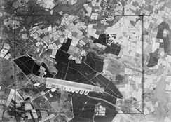 Aerial view showing Woodbridge ELG at lower left with RAF Bentwaters at upper right, World War II,