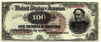 A $100 Treasury Note, authorized by the Sherman Silver Purchase Act, redeemable in gold or silver coin.