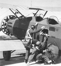 115th Observation Squadron Douglas O-38 Preparing for a target towing mission at Camp Merriam, now Camp San Luis Obispo, in 1933