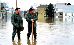 Members of the Indiana Air National Guard participate in an emergency operation after recent flooding in Fort Wayne, Indiana, 1 March 1982.