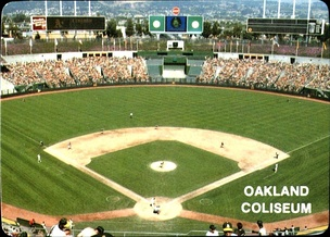 The A's hosting a game at the Oakland–Alameda County Coliseum in 1985.