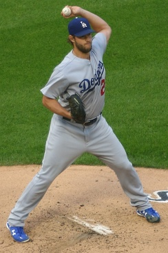 Clayton Kershaw making a pickoff throw to first base for the 2017 Los Angeles Dodgers.