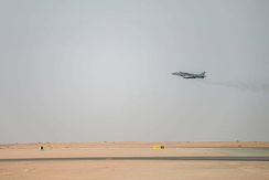 An AV-8B Harrier II assigned to VMA-214 launches from Prince Sultan Air Base on 16 June 2020