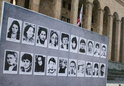 Photos of 9 April 1989 victims of the Tbilisi massacre on a billboard in Tbilisi