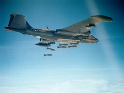 USAF B-57 dropping 750 lb (340 kg) bombs