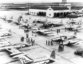 27th SFW Republic Aviation F-84E Thunderjets on the ramp at Bergstrom AFB just before the deployment to Furstenfeldbruck AB.