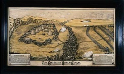 1912 lithograph depicting the 1862 Battle of Birch Coulee, by Paul G. Biersach (1845-1927)