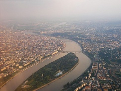 Aerial view of Margaret Island, Budapest, Hungary. There are 15 bridges over the Danube in Budapest.