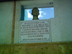 Pedro Infante's bust in the place he died.