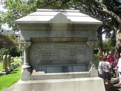 Very large, imposing grave stone, perhaps 15 feet (4.6 m) high, with simply Calhoun's birth and death dates engraved.