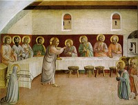 Communion of the Apostles, by Fra Angelico, with donor portrait, 1440–41