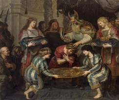 The Anointing of Solomon  by Cornelis de Vos (c. 1630). According to 1 Kings 1:39, Solomon was anointed by Zadok.