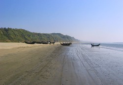 Boats on the Cox's Bazar Beach, the longest natural beach in the world