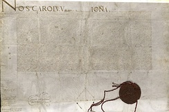 Deed of Donation of the islands of Malta, Gozo and Tripoli to the Order of St John by Emperor Charles V in 1530.