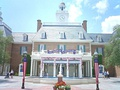 The American Adventure pavilion in Epcot, also in Walt Disney World, uses forced perspective to make a five story building appear to be two and a half stories.[13]