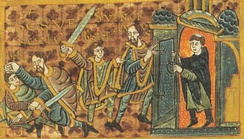 Wenceslaus flees from his brother who is wielding a sword, but the priest closes the door of the church (from Gumpold's Codex)